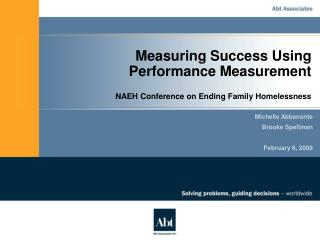 Measuring Success Using Performance Measurement