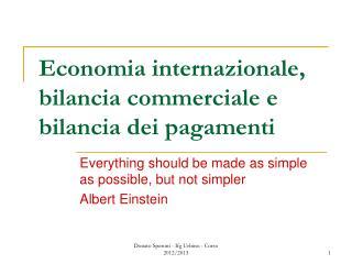 Economia internazionale, bilancia commerciale e bilancia dei pagamenti