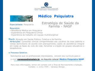 Médico Psiquiatra Estratégia de Saúde da Família - NASF