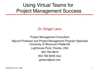 Using Virtual Teams for  Project Management Success