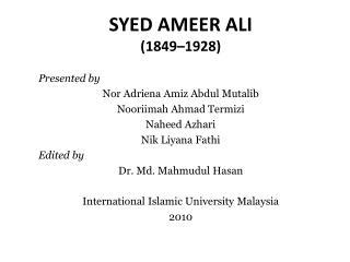 SYED AMEER ALI  (1849�1928)