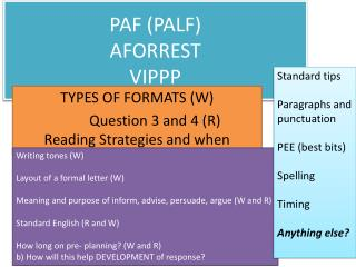 PAF (PALF) AFORREST VIPPP