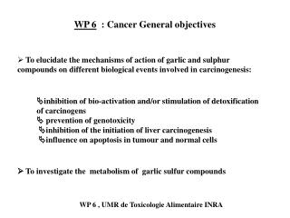 WP 6   : Cancer General objectives