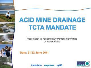 ACID MINE DRAINAGE TCTA MANDATE