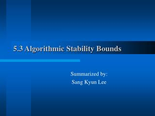 5.3 Algorithmic Stability Bounds