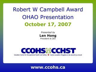 Robert W Campbell Award