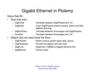 Gigabit Ethernet in Ptolemy