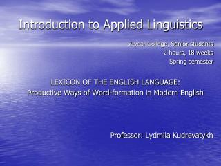 Introduction to Applied Linguistics
