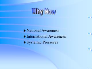 National Awareness International Awareness Systemic Pressures