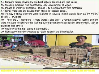 Residents of  Pantay FaTima  participated in annual trade fairs in  Vigan