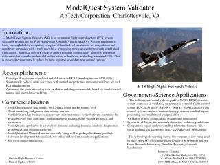 ModelQuest System Validator AbTech Corporation, Charlottesville, VA