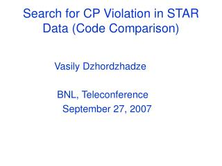 Search for CP Violation in STAR Data (Code Comparison)