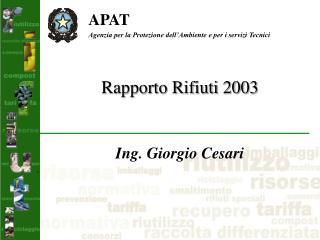 Rapporto Rifiuti 2003