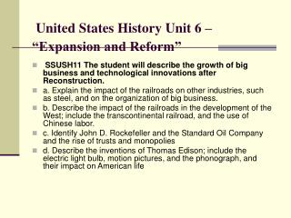 "United States History Unit 6 – ""Expansion and Reform"""