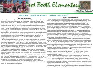 Bobcats� Roar     January 2007 Newsletter     Wednesday,  January 24,2007