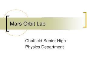 Mars Orbit Lab