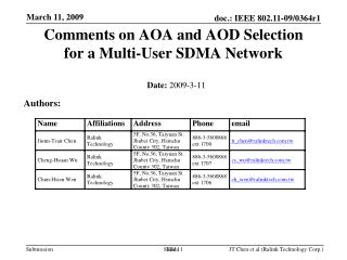 Comments on AOA and AOD Selection  for a Multi-User SDMA Network