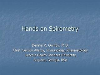 Hands on Spirometry