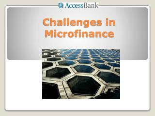 Challenges in Microfinance