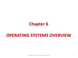 Chapter 6 OPERATING SYSTEMS OVERVIEW