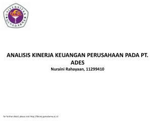ANALISIS KINERJA KEUANGAN PERUSAHAAN PADA PT. ADES Nuraini Rahayaan, 11299410
