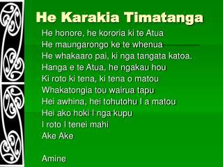 He Karakia Timatanga