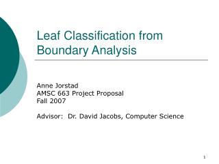 Leaf Classification from Boundary Analysis
