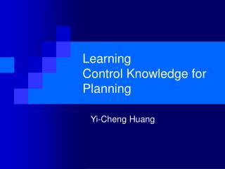 Learning  Control Knowledge for Planning