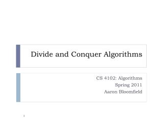 Divide and Conquer Algorithms