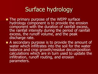 Surface hydrology