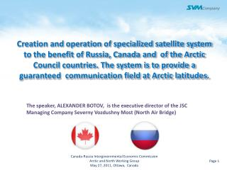 Canada-Russia Intergovernmental Economic Commission  Arctic and North Working Group