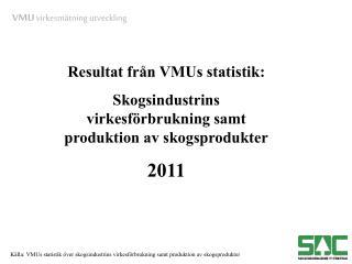 Resultat från VMUs statistik:  Skogsindustrins virkesförbrukning samt produktion av skogsprodukter