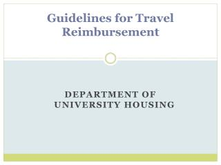 Guidelines for Travel Reimbursement