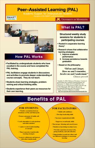 Peer�Assisted Learning (PAL) Academic Support  for Undergraduate Students