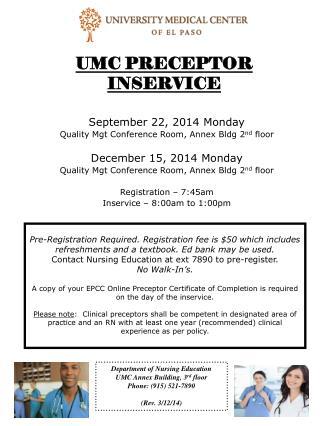 UMC PRECEPTOR INSERVICE
