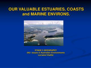 OUR VALUABLE ESTUARIES, COASTS and MARINE ENVIRONS.