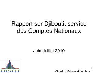 Rapport sur Djibouti: service des Comptes Nationaux
