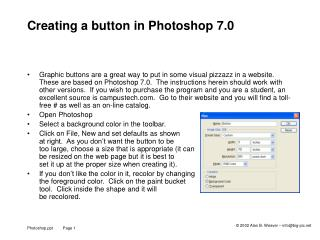 Creating a button in Photoshop 7.0
