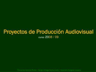 Proyectos de Producción Audiovisual curso  20 08 / 09