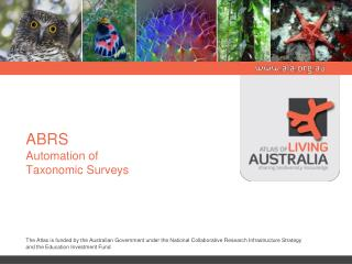 ABRS Automation of  Taxonomic Surveys
