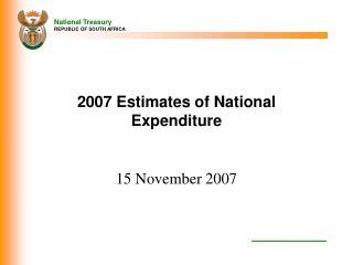2007 Estimates of National Expenditure
