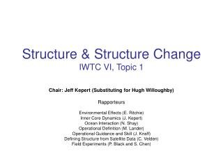 Structure & Structure Change IWTC VI, Topic 1