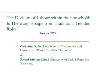 The Division of Labour within the household: Is There any Escape from Traditional Gender Roles?