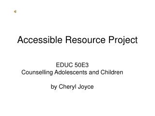 Accessible Resource Project