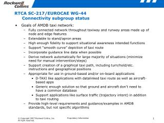 RTCA SC-217/EUROCAE WG-44 Connectivity subgroup status