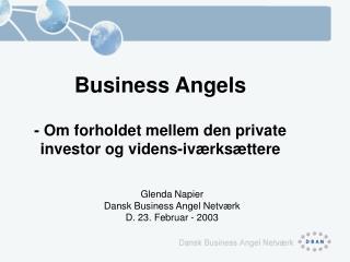 Business Angels - Om forholdet mellem den private investor og videns-iværksættere