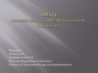 AMAO Annual Measurable Achievement Objectives