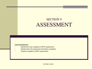 SECTION 9 ASSESSMENT