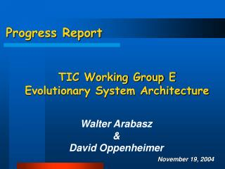 Progress Report  TIC Working Group E Evolutionary System Architecture
