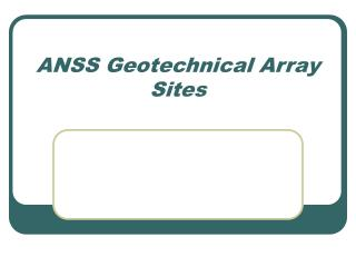 ANSS Geotechnical Array Sites